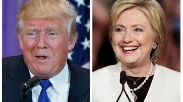 A combination photo shows Republican U.S. presidential candidate Donald Trump (L) in Palm Beach, Florida and Democratic U.S. presidential candidate Hillary Clinton (R) in Miami, Florida at their respective Super Tuesday primaries campaign events on March 1, 2016. REUTERS/Scott Audette (L), Javier Galeano (R)