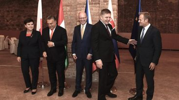 (L-R) Prime Minister of Poland Beata Szydlo, Hungarian Prime Minister Viktor Orban, Prime Minister of the Czech Republic Bohuslav Sobotka, Slovakian Prime Minister Robert Fico and President of European Council Donald Tusk (R) pose for family photo  before Working Lunch of President Donald Tusk with the V4 Prime Ministers at the Ministry of Foreign Affairs in Bratislava, Slovakia, on October 13, 2017.