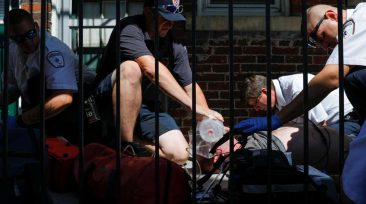 "Cataldo Ambulance medics and EMTs, along with firefighters, revive a man in his 40's who was found unresponsive after overdosing on an opioid in the Boston suburb of Salem, Massachusetts, U.S., August 9, 2017. The victim received a total of 12mg of naloxone. Nurses at the hospital recognised the man, saying he was brought in the day before after overdosing. REUTERS/Brian Snyder  SEARCH ""SNYDER OPIOIDS"" FOR THIS STORY. SEARCH ""WIDER IMAGE"" FOR ALL STORIES."