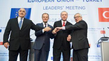 Jean-Claude Juncker, Donald Tusk, Boiko Borissov,Tayyip Erdogan,